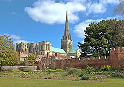 Chichester Cathedral and part of its gardens